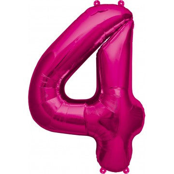 Magenta number 4 mylar balloon - 34 inches