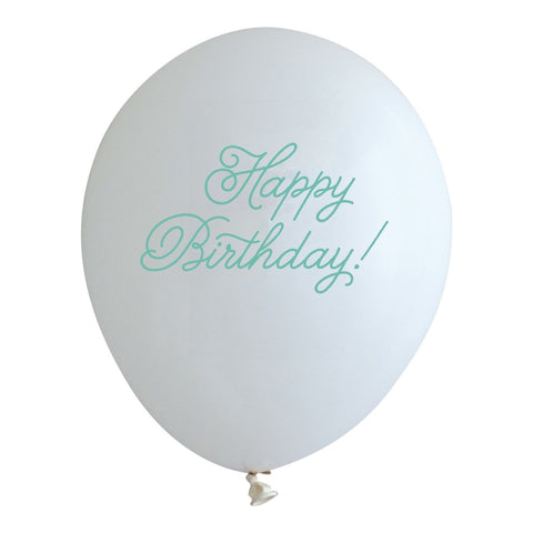 mint happy birthday balloons