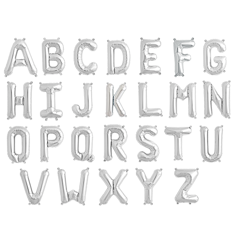 silver mylar letter balloons - 16 inches