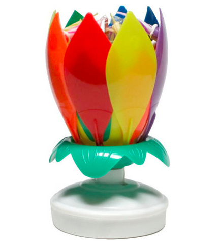 Rainbow Musical Lotus Flower Happy Birthday Candle