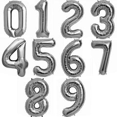 silver mylar number balloons - 16 inch