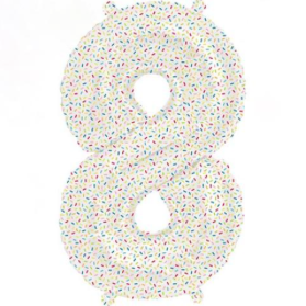 number 8 sprinkles mylar balloon - 16''