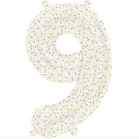 number 9 sprinkles mylar balloon - 16''