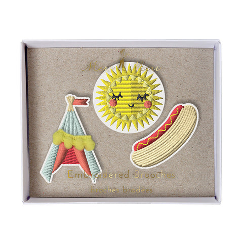 tipi, sun and hot dog brooches