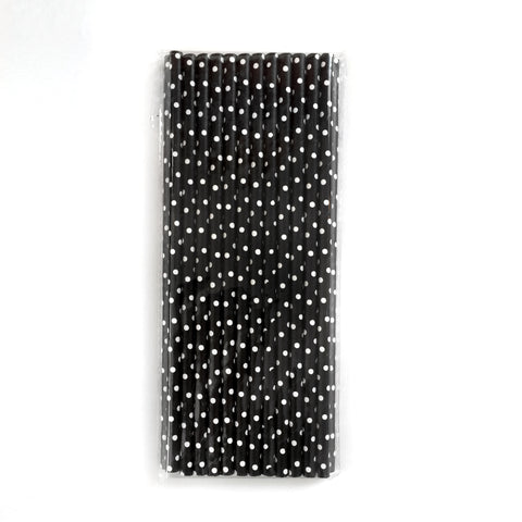 black and white polka dots paper straws