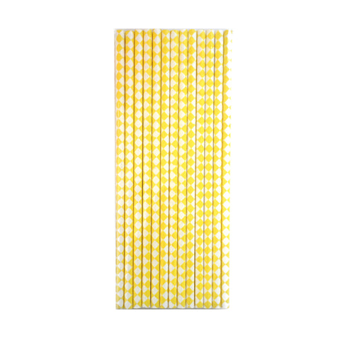 yellow harlequin paper straws