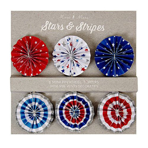 stars and stripes mini pinwheel toppers