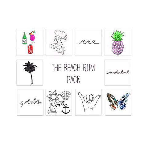 beach bum temporary tattoo pack