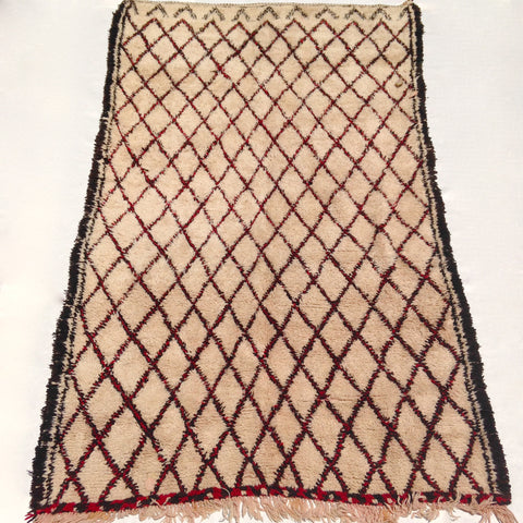 vintage moroccan rug beige, black and red