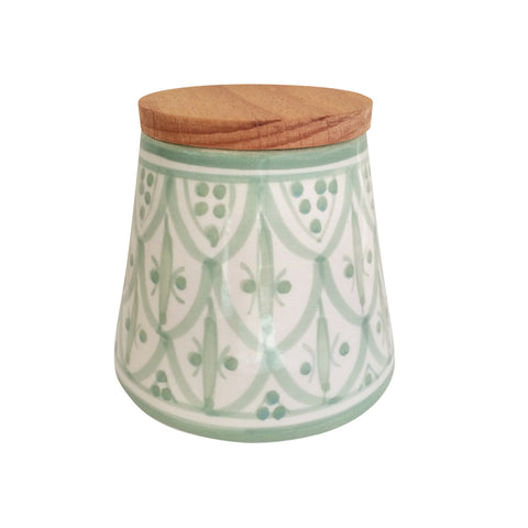 handpainted ceramic conic canister - celadon