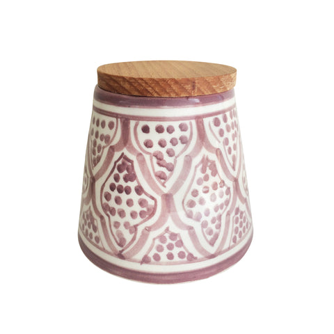 handpainted ceramic conic canister - light burgundy