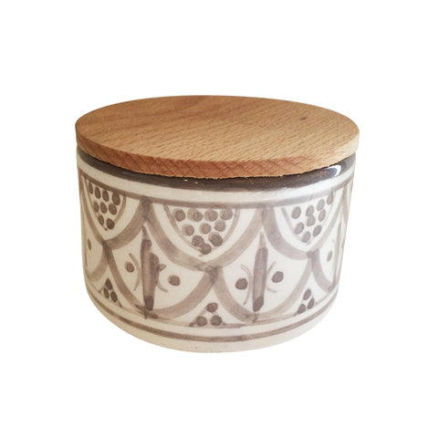 handpainted ceramic medium canister - taupe