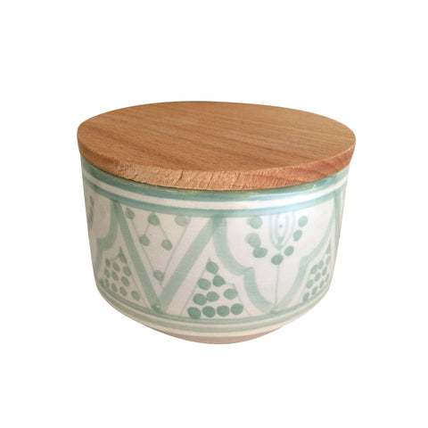 handpainted ceramic medium canister - celadon