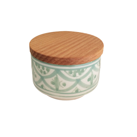 handpainted ceramic small canister - celadon