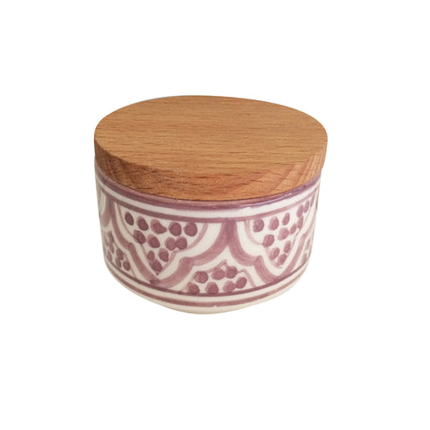 handpainted ceramic small canister - light burgundy