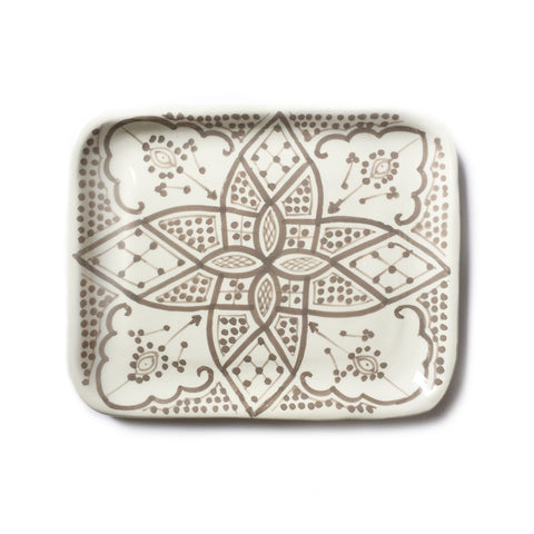 handpainted ceramic tray - taupe