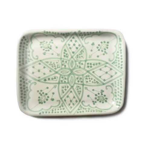 handpainted ceramic tray - celadon