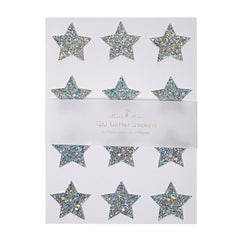 chunky silver holographic glitter star stickers