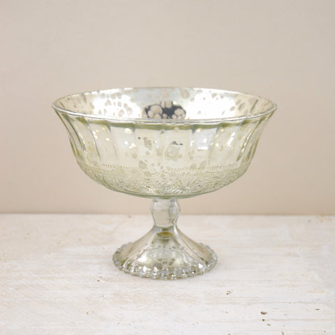 silver mercury glass compote