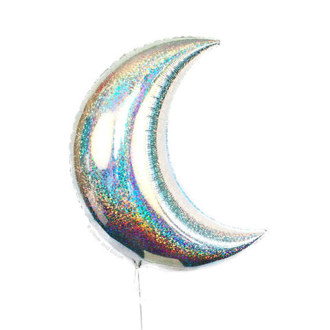 crescent moon balloon - holographic