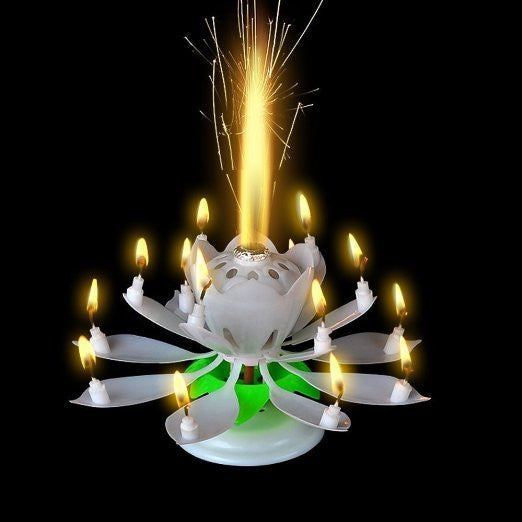 White Musical Lotus Flower Happy Birthday Candle