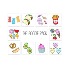 foodie temporary tattoo pack