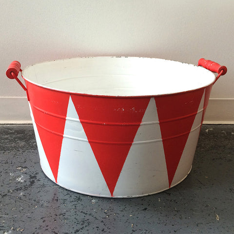 red and white ice bucket