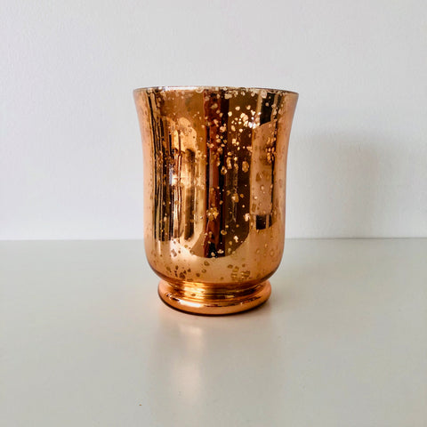 large rose gold mercury candle holder