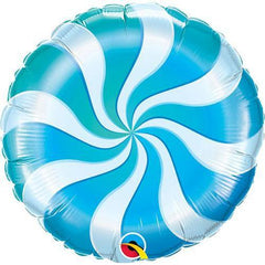 candy swirl balloon blue and white