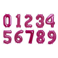 Magenta mylar number balloons - 16 inches