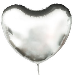 large silver mylar heart balloon