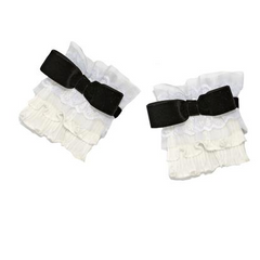 black and white ruffle cuffs