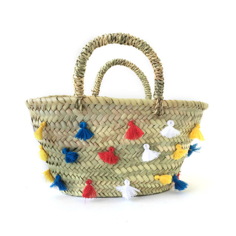 tassel basket - red, yellow, blue white