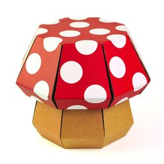 red and white mushroom stool