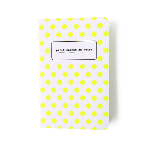 small yellow fluo polka dot notebook