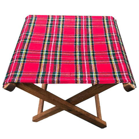 red plaid folding stools