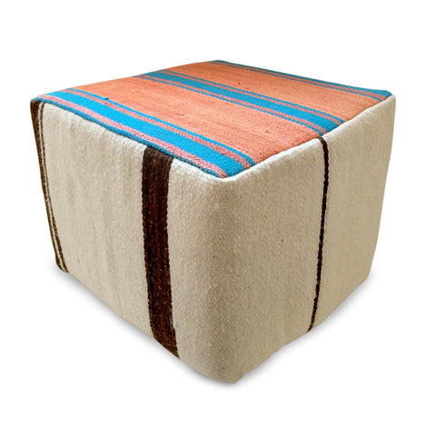 pouf beige, red and blue rental