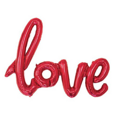 love script red mylar balloon garland