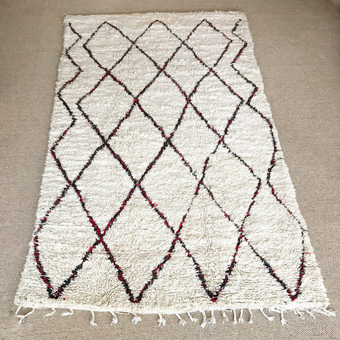 beige and red diamonds moroccan rug