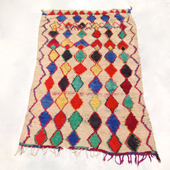 vintage moroccan rug multicolored diamond