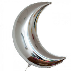 crescent moon balloon - silver