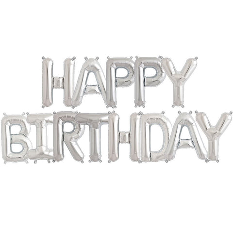 silver happy birthday balloon garland