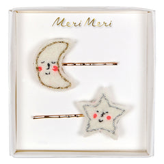 moon and star hair clips
