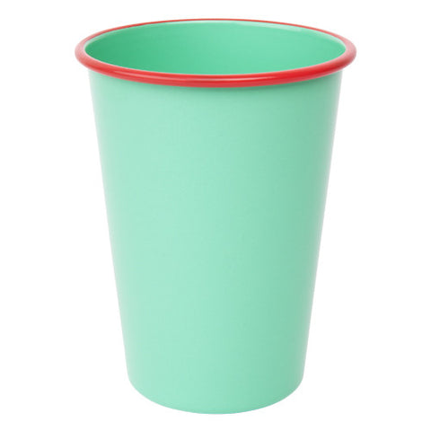 Enamel cup - green and coral