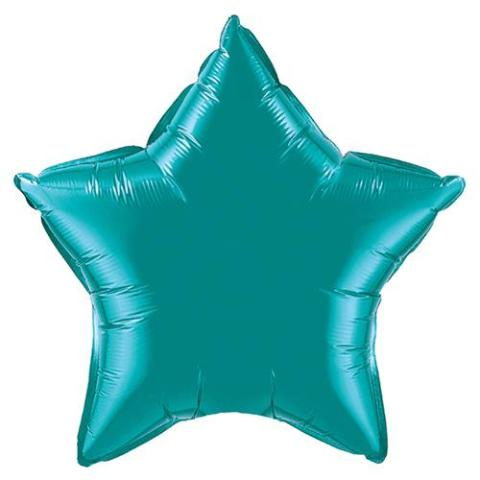 teal star mylar balloon - 22''