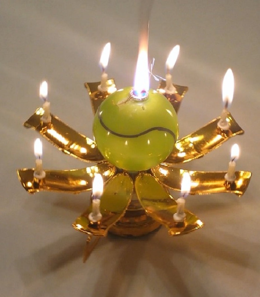Gold Tennis Trophy Musical Happy Birthday Candle