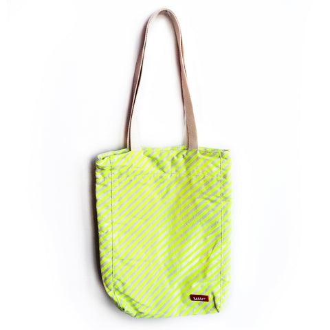 green fluo stripe tote bag