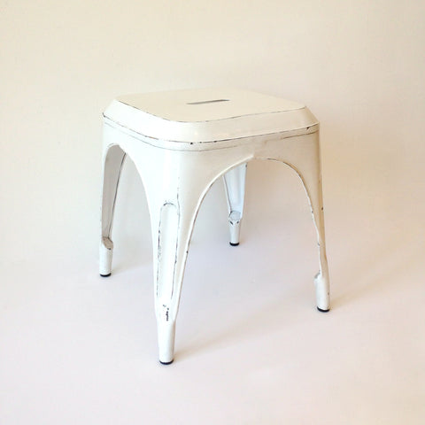 vintage steel stool - white