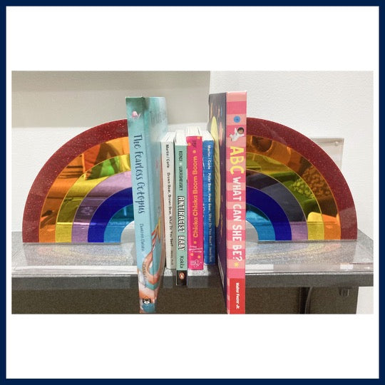 Rainbow Lucite Bookends
