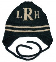 Personalized Striped Hat with Monogram and Earflaps